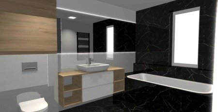 Projekt nowoczesnej łazienki 3D CAD
